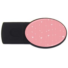 Pink background with white hearts on lines USB Flash Drive Oval (1 GB)