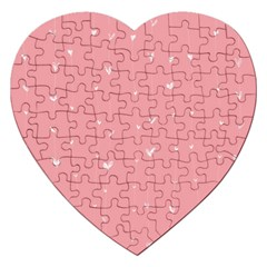 Pink background with white hearts on lines Jigsaw Puzzle (Heart)