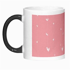 Pink background with white hearts on lines Morph Mugs