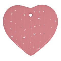 Pink background with white hearts on lines Heart Ornament (Two Sides)