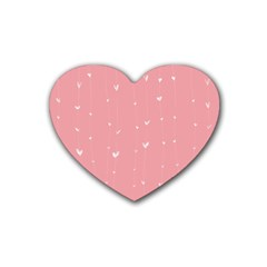 Pink background with white hearts on lines Heart Coaster (4 pack)