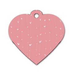 Pink background with white hearts on lines Dog Tag Heart (Two Sides)