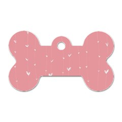 Pink background with white hearts on lines Dog Tag Bone (One Side)