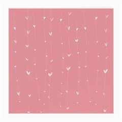 Pink background with white hearts on lines Medium Glasses Cloth