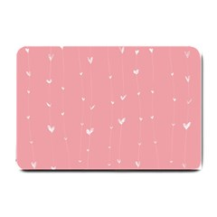 Pink background with white hearts on lines Small Doormat
