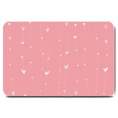 Pink background with white hearts on lines Large Doormat