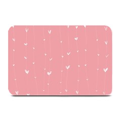 Pink background with white hearts on lines Plate Mats