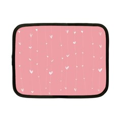 Pink background with white hearts on lines Netbook Case (Small)