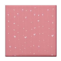 Pink background with white hearts on lines Face Towel
