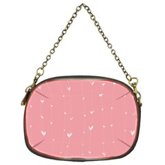 Pink background with white hearts on lines Chain Purses (One Side)