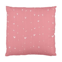 Pink background with white hearts on lines Standard Cushion Case (One Side)