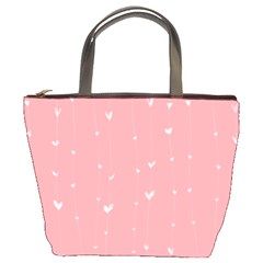 Pink background with white hearts on lines Bucket Bags