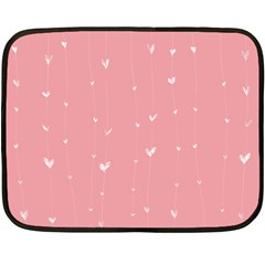 Pink background with white hearts on lines Double Sided Fleece Blanket (Mini)
