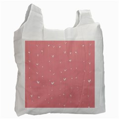 Pink background with white hearts on lines Recycle Bag (Two Side)