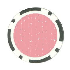 Pink background with white hearts on lines Poker Chip Card Guard (10 pack)
