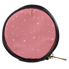 Pink background with white hearts on lines Mini Makeup Bags