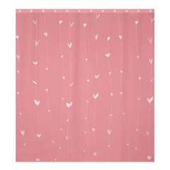 Pink background with white hearts on lines Shower Curtain 66  x 72  (Large)