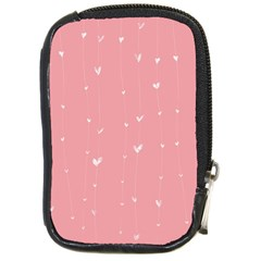 Pink background with white hearts on lines Compact Camera Cases