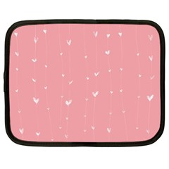Pink background with white hearts on lines Netbook Case (XL)