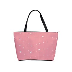 Pink background with white hearts on lines Shoulder Handbags