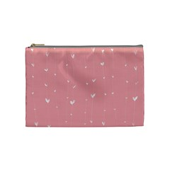 Pink background with white hearts on lines Cosmetic Bag (Medium)