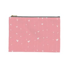 Pink background with white hearts on lines Cosmetic Bag (Large)