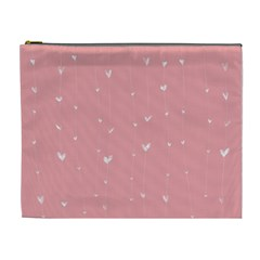Pink background with white hearts on lines Cosmetic Bag (XL)