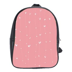 Pink background with white hearts on lines School Bags(Large)