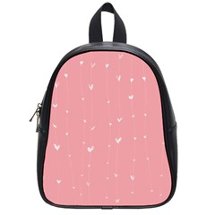 Pink background with white hearts on lines School Bags (Small)