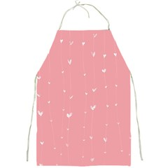 Pink background with white hearts on lines Full Print Aprons