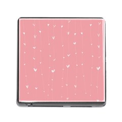 Pink background with white hearts on lines Memory Card Reader (Square)