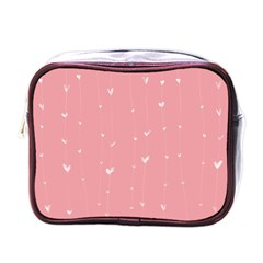 Pink background with white hearts on lines Mini Toiletries Bags