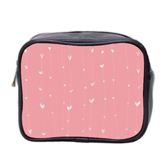 Pink background with white hearts on lines Mini Toiletries Bag 2-Side