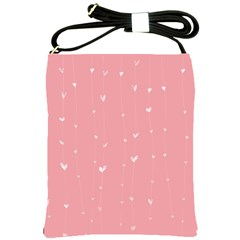 Pink background with white hearts on lines Shoulder Sling Bags