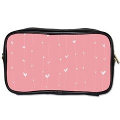 Pink background with white hearts on lines Toiletries Bags