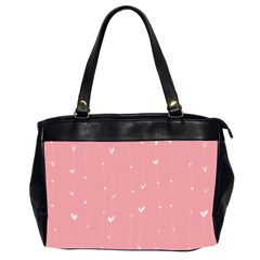 Pink background with white hearts on lines Office Handbags (2 Sides)