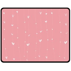 Pink background with white hearts on lines Fleece Blanket (Medium)