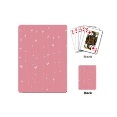 Pink background with white hearts on lines Playing Cards (Mini)