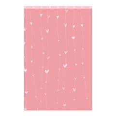 Pink background with white hearts on lines Shower Curtain 48  x 72  (Small)