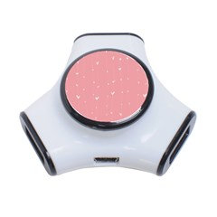 Pink background with white hearts on lines 3-Port USB Hub
