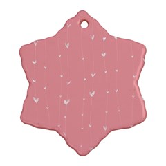 Pink background with white hearts on lines Snowflake Ornament (Two Sides)