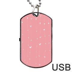 Pink background with white hearts on lines Dog Tag USB Flash (One Side)