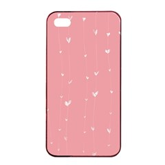 Pink background with white hearts on lines Apple iPhone 4/4s Seamless Case (Black)