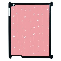 Pink background with white hearts on lines Apple iPad 2 Case (Black)