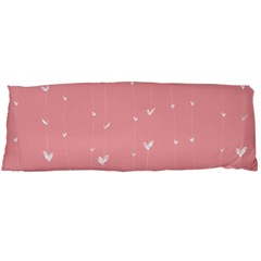 Pink background with white hearts on lines Body Pillow Case (Dakimakura)