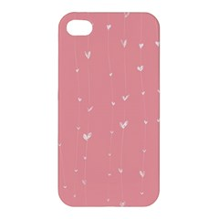 Pink background with white hearts on lines Apple iPhone 4/4S Premium Hardshell Case