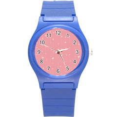 Pink background with white hearts on lines Round Plastic Sport Watch (S)