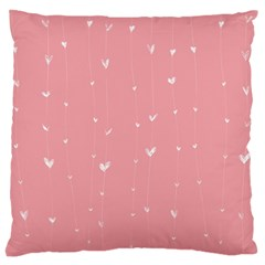 Pink background with white hearts on lines Large Cushion Case (One Side)