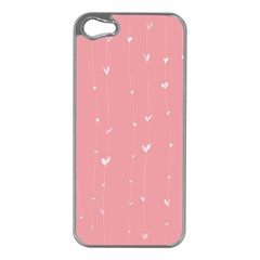 Pink background with white hearts on lines Apple iPhone 5 Case (Silver)