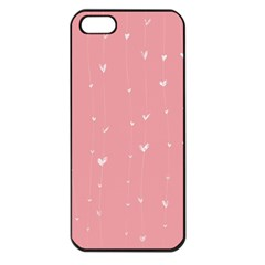 Pink background with white hearts on lines Apple iPhone 5 Seamless Case (Black)